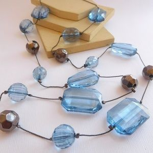 Jewelry - Long Blue Craquelure Bead Gunmetal Silver Necklace